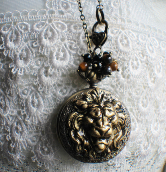 Lion watch pendant, pocket watch with lion head mounted on front cover. - Char's Favorite Things - 3