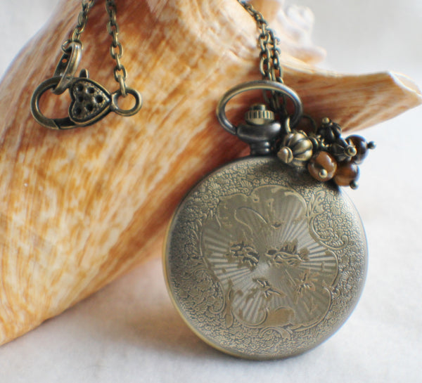 Lion watch pendant, pocket watch with lion head mounted on front cover. - Char's Favorite Things - 5