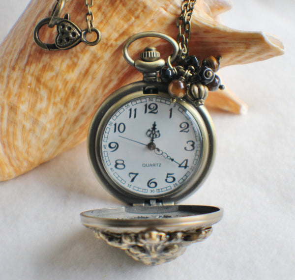 Lion watch pendant, pocket watch with lion head mounted on front cover. - Char's Favorite Things - 4