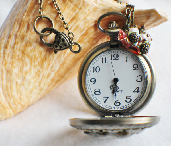 Cupid watch pendant, pocket watch with cupids mounted on front cover. - Char's Favorite Things - 4