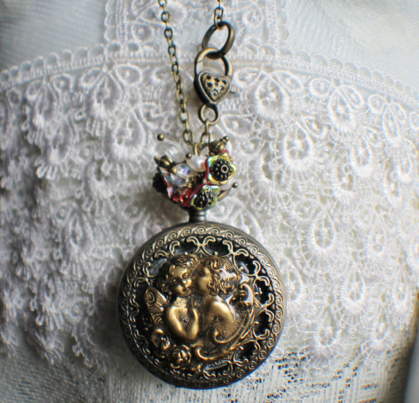 Cupid watch pendant, pocket watch with cupids mounted on front cover. - Char's Favorite Things - 3