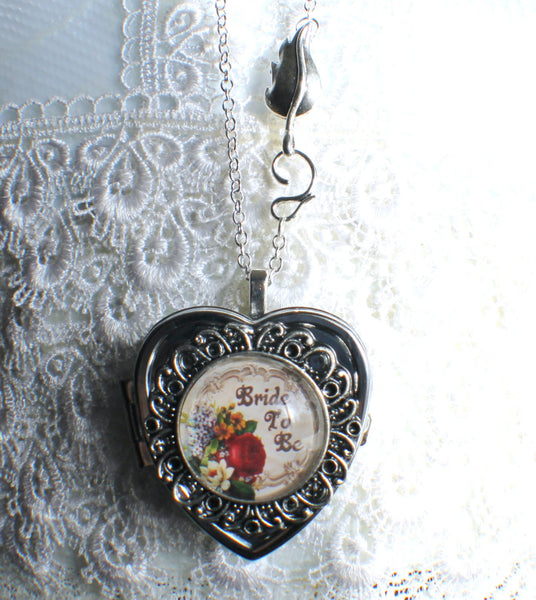 Music box locket, heart shaped locket with music box inside, in silver or bronze for Bride. - Char's Favorite Things - 4