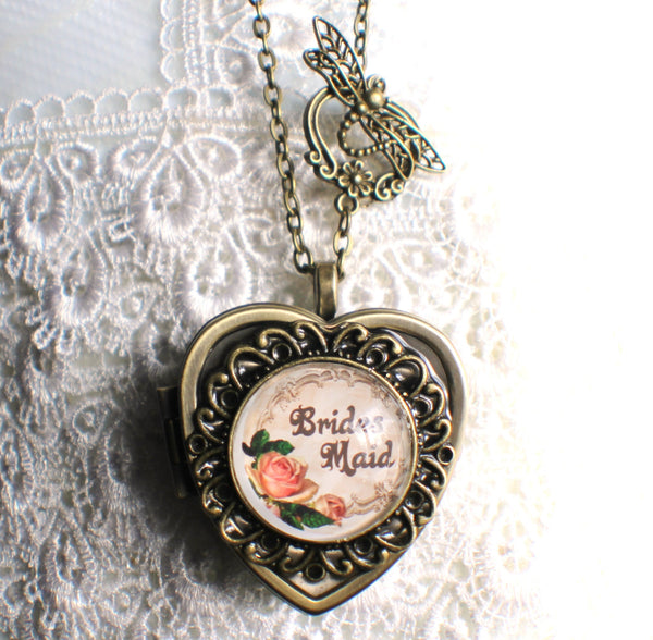 Music box locket, heart shaped locket with music box inside, in silver or bronze for Brides Maid. - Char's Favorite Things - 4