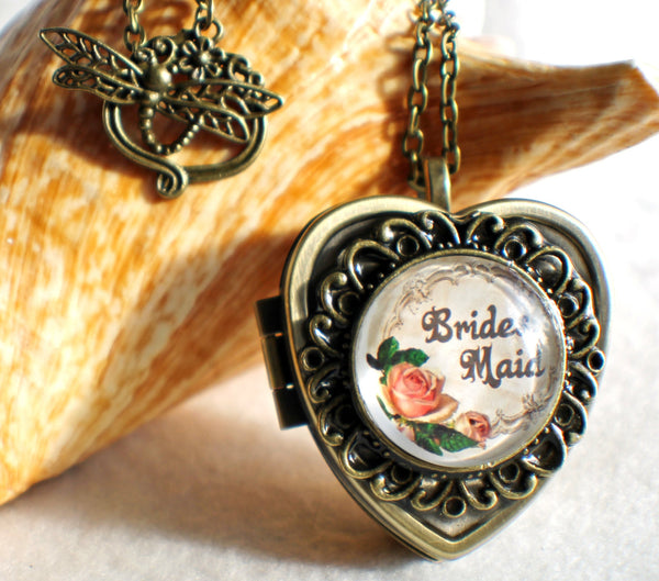 Music box locket, heart shaped locket with music box inside, in silver or bronze for Brides Maid. - Char's Favorite Things - 1