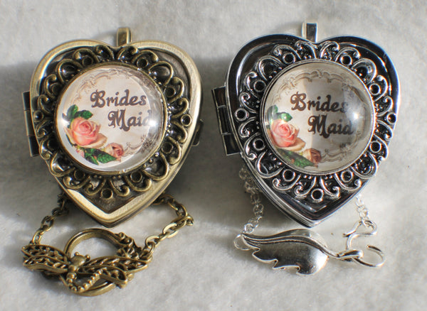 Music box locket, heart shaped locket with music box inside, in silver or bronze for Brides Maid. - Char's Favorite Things - 3