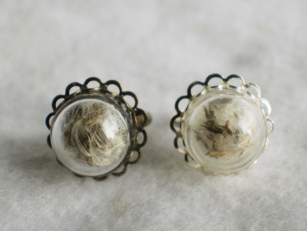 Dandelion seed  ring, glass globe ring filled with dandelion seeds in silver or bronze. - Char's Favorite Things - 2