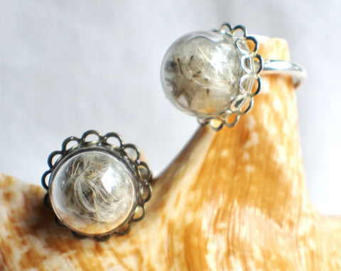 Dandelion seed  ring, glass globe ring filled with dandelion seeds in silver or bronze. - Char's Favorite Things - 1