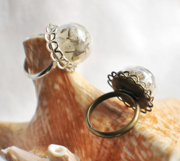 Dandelion seed  ring, glass globe ring filled with dandelion seeds in silver or bronze. - Char's Favorite Things - 3