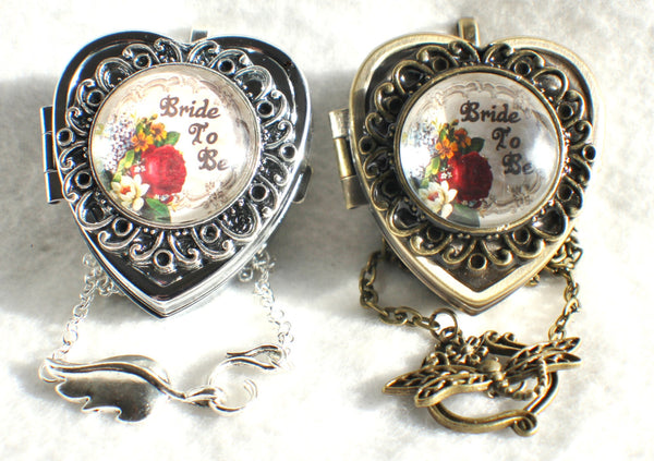 Music box locket, heart shaped locket with music box inside, in silver or bronze for Bride. - Char's Favorite Things - 3