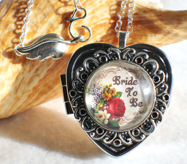 Music box locket, heart shaped locket with music box inside, in silver or bronze for Bride. - Char's Favorite Things - 1