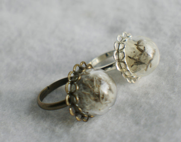 Dandelion seed  ring, glass globe ring filled with dandelion seeds in silver or bronze. - Char's Favorite Things - 4