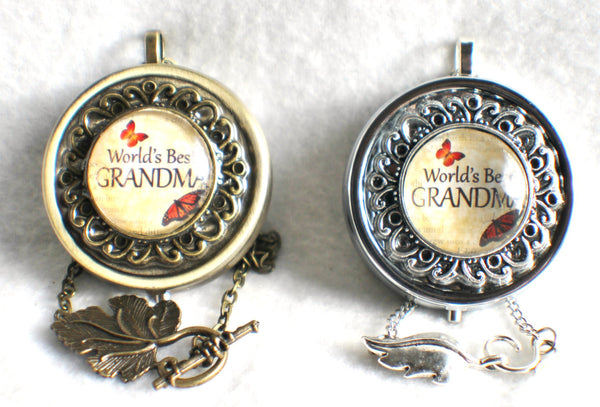 "Music box locket,  round locket with music box inside, in silver tone or bronze with ""World's Best Grandma"" on cover. - Char's Favorite Things - 3"