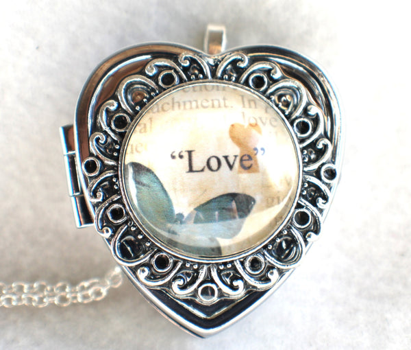 Music box locket, heart shaped locket with music box inside, in silver with Love and Butterfly Cabochon - Char's Favorite Things - 3
