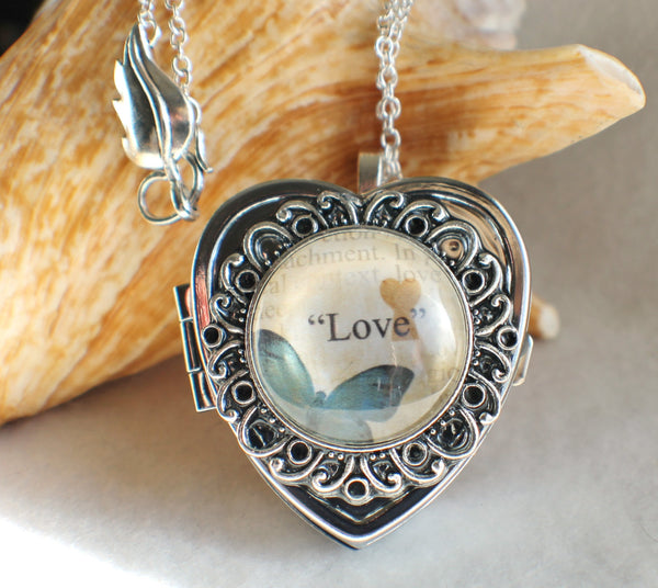 Music box locket, heart shaped locket with music box inside, in silver with Love and Butterfly Cabochon - Char's Favorite Things - 1