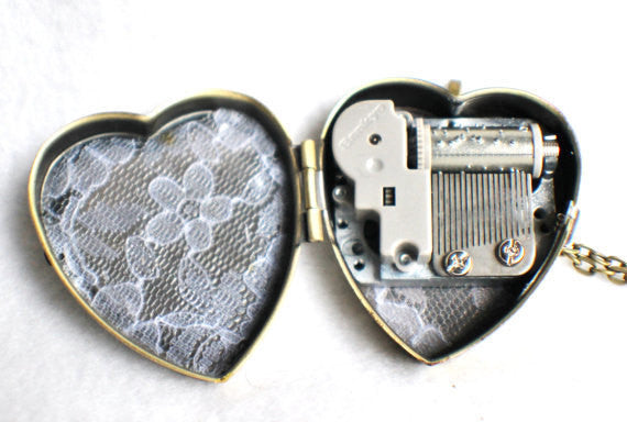 Music box locket, heart shaped locket with music box inside, in bronze or silver tone with Love and Butterfly Cabochon - Char's Favorite Things - 5