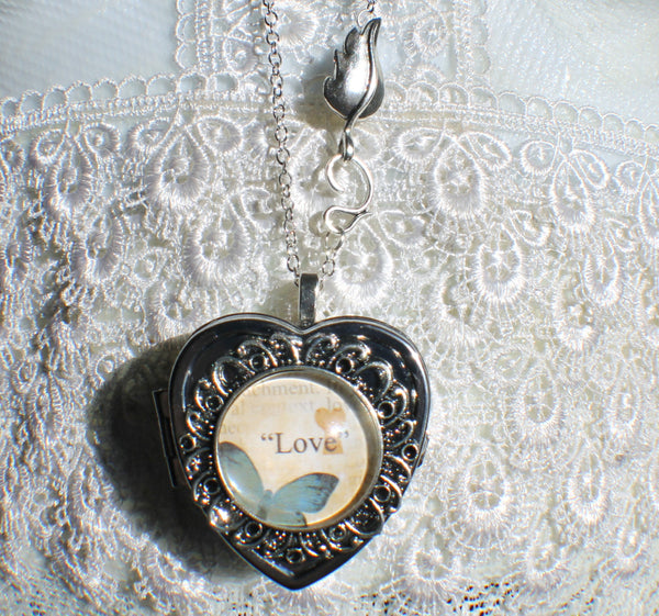 Music box locket, heart shaped locket with music box inside, in silver with Love and Butterfly Cabochon - Char's Favorite Things - 4