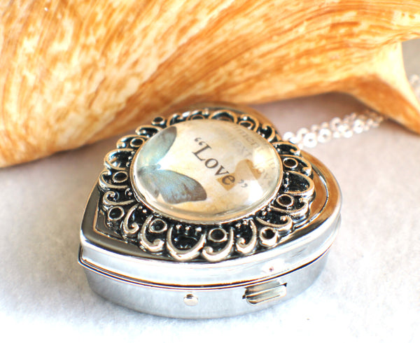 Music box locket, heart shaped locket with music box inside, in silver with Love and Butterfly Cabochon - Char's Favorite Things - 2