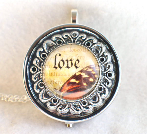 Music box locket, round locket with music box inside, in silver tone with Love and Butterfly Cabochon - Char's Favorite Things - 3
