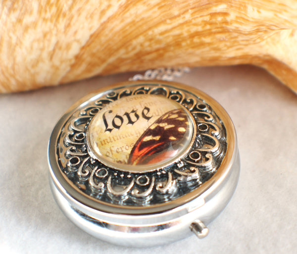 Music box locket, round locket with music box inside, in silver tone with Love and Butterfly Cabochon - Char's Favorite Things - 2