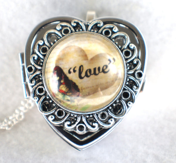 Music box locket, heart shaped locket with music box inside, in silver tone with Love and Butterfly Cabochon - Char's Favorite Things - 3