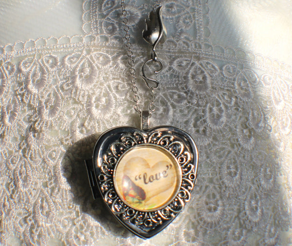 Music box locket, heart shaped locket with music box inside, in silver tone with Love and Butterfly Cabochon - Char's Favorite Things - 4