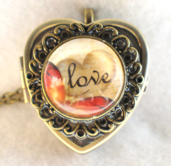 Music box locket, heart shaped locket with music box inside, in bronze with Love and Butterfly Cabochon - Char's Favorite Things - 3