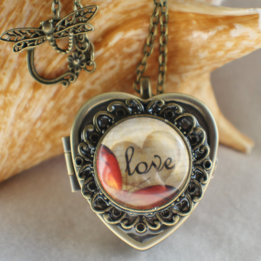 Music box locket, heart shaped locket with music box inside, in bronze with Love and Butterfly Cabochon - Char's Favorite Things - 1