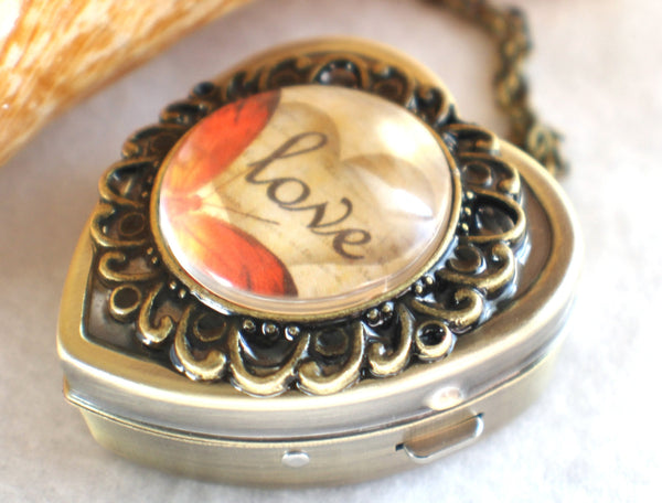 Music box locket, heart shaped locket with music box inside, in bronze with Love and Butterfly Cabochon - Char's Favorite Things - 2