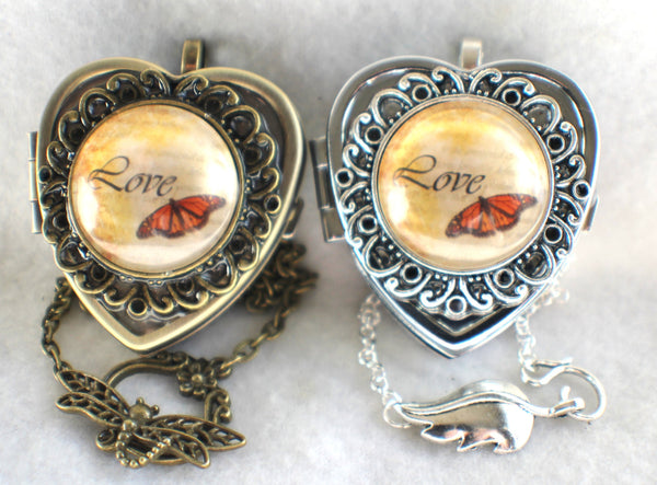 Music box locket, heart shaped locket with music box inside, in bronze or silver tone with Love and Butterfly Cabochon - Char's Favorite Things - 2