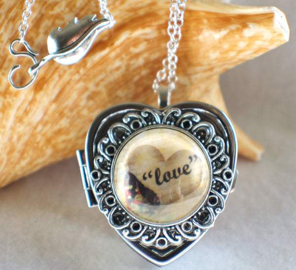 Music box locket, heart shaped locket with music box inside, in silver tone with Love and Butterfly Cabochon - Char's Favorite Things - 1