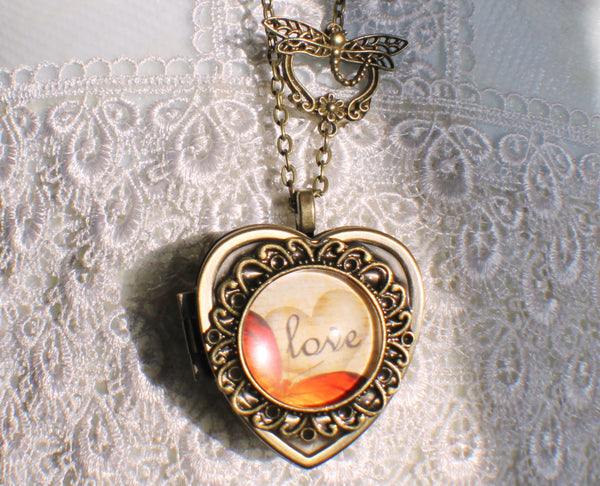 Music box locket, heart shaped locket with music box inside, in bronze with Love and Butterfly Cabochon - Char's Favorite Things - 4