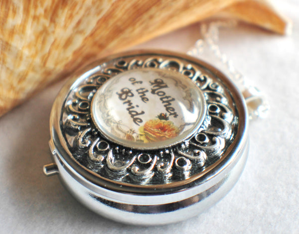 Music box locket, round locket with music box inside, in silver or bronze for Mother of the Bride. - Char's Favorite Things - 2