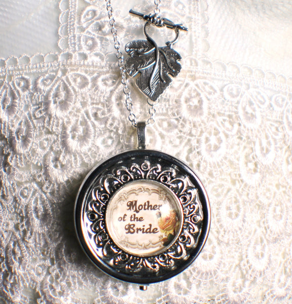 Music box locket, round locket with music box inside, in silver or bronze for Mother of the Bride. - Char's Favorite Things - 4