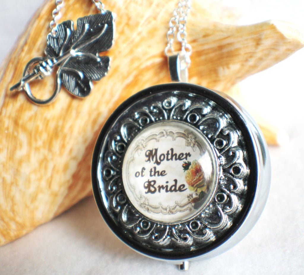 Music box locket, round locket with music box inside, in silver or bronze for Mother of the Bride. - Char's Favorite Things - 1