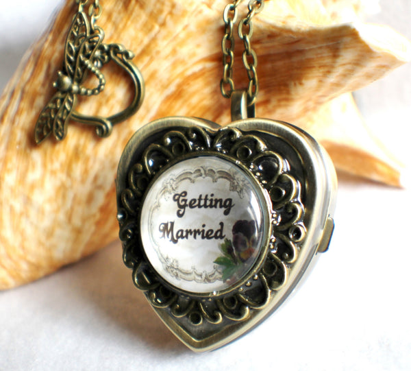 Music box locket, heart shaped locket with music box inside, in silver or bronze for weddings. - Char's Favorite Things - 1