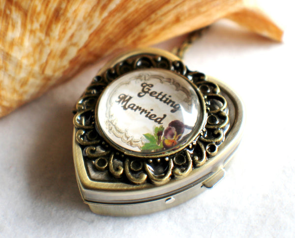 Music box locket, heart shaped locket with music box inside, in silver or bronze for weddings. - Char's Favorite Things - 3