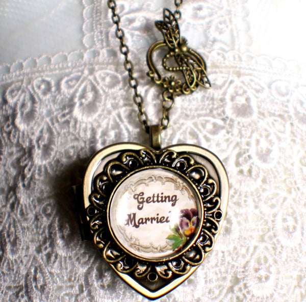 Music box locket, heart shaped locket with music box inside, in silver or bronze for weddings. - Char's Favorite Things - 4