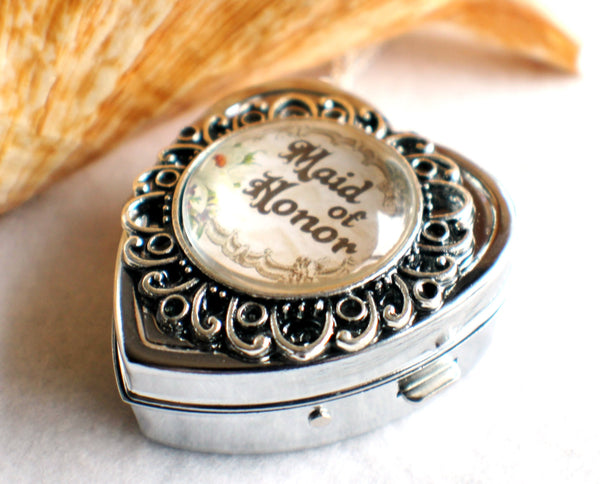 Music box locket, heart shaped locket with music box inside, in silver or bronze for your Maid of Honor. - Char's Favorite Things - 3