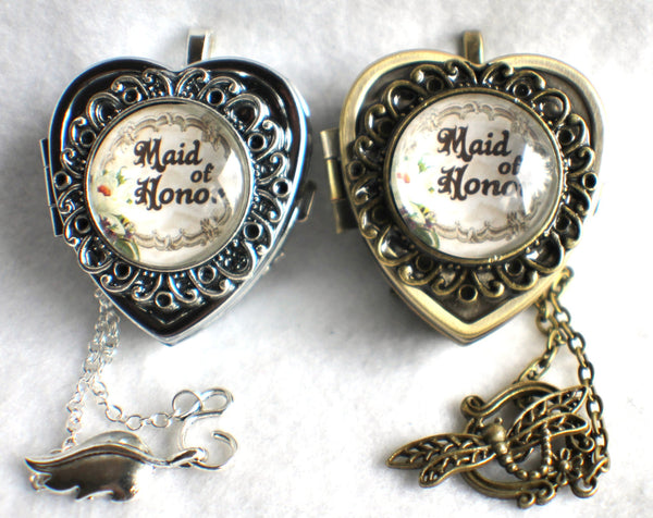 Music box locket, heart shaped locket with music box inside, in silver or bronze for your Maid of Honor. - Char's Favorite Things - 2