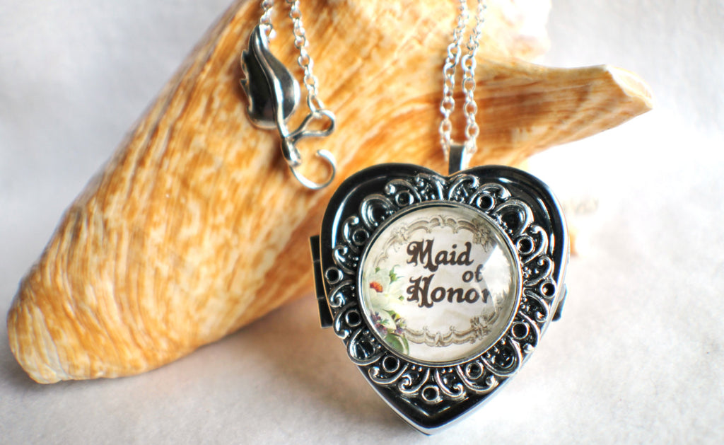 Music box locket, heart shaped locket with music box inside, in silver or bronze for your Maid of Honor. - Char's Favorite Things - 1