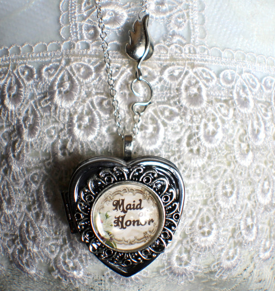 Music box locket, heart shaped locket with music box inside, in silver or bronze for your Maid of Honor. - Char's Favorite Things - 4