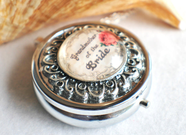 Music box locket, round locket with music box inside, in silver or bronze for Grandmother of the Bride. - Char's Favorite Things - 3