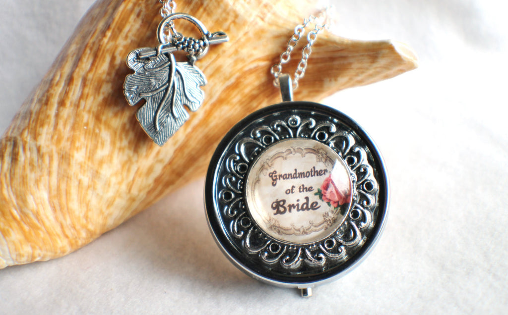 Music box locket, round locket with music box inside, in silver or bronze for Grandmother of the Bride. - Char's Favorite Things - 1