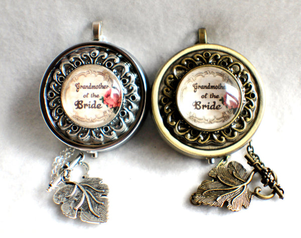 Music box locket, round locket with music box inside, in silver or bronze for Grandmother of the Bride. - Char's Favorite Things - 2