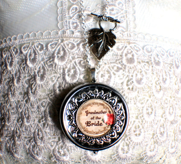 Music box locket, round locket with music box inside, in silver or bronze for Grandmother of the Bride. - Char's Favorite Things - 4