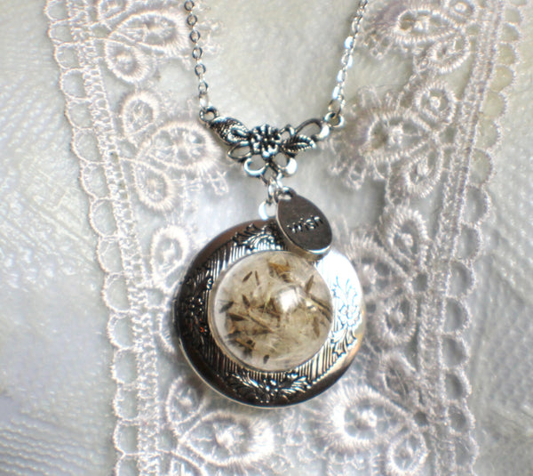 Dandelion seed round photo locket with silver accents and wish charm. - Char's Favorite Things - 3