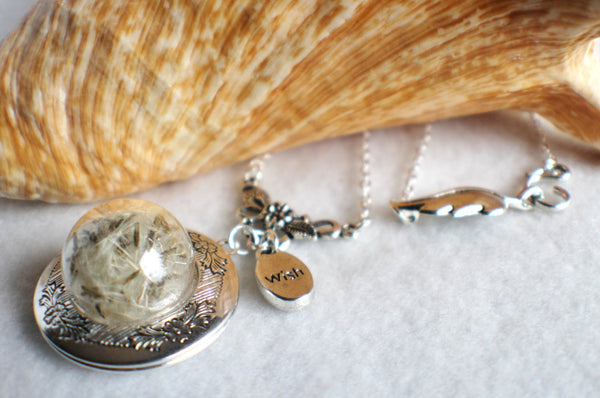Dandelion seed round photo locket with silver accents and wish charm. - Char's Favorite Things - 2