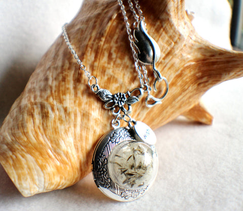 Dandelion seed round photo locket with silver accents and wish charm. - Char's Favorite Things - 1