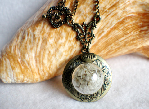 Dandelion seed round photo locket with bronze accents and wish charm. - Char's Favorite Things - 1