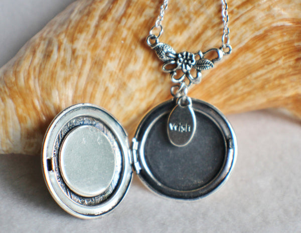 Dandelion seed round photo locket with silver accents and wish charm. - Char's Favorite Things - 4
